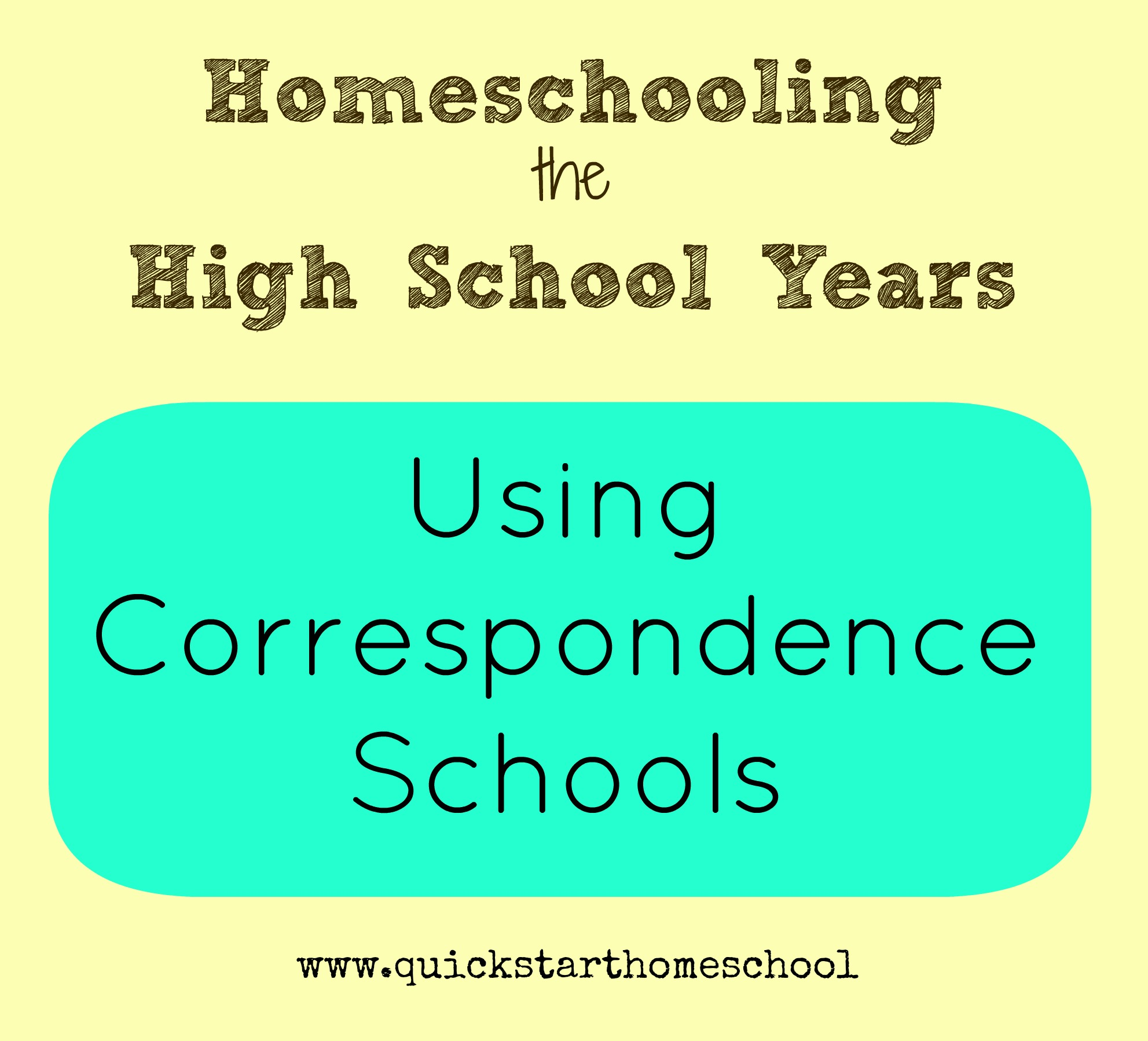 Using correspondence schools for high school
