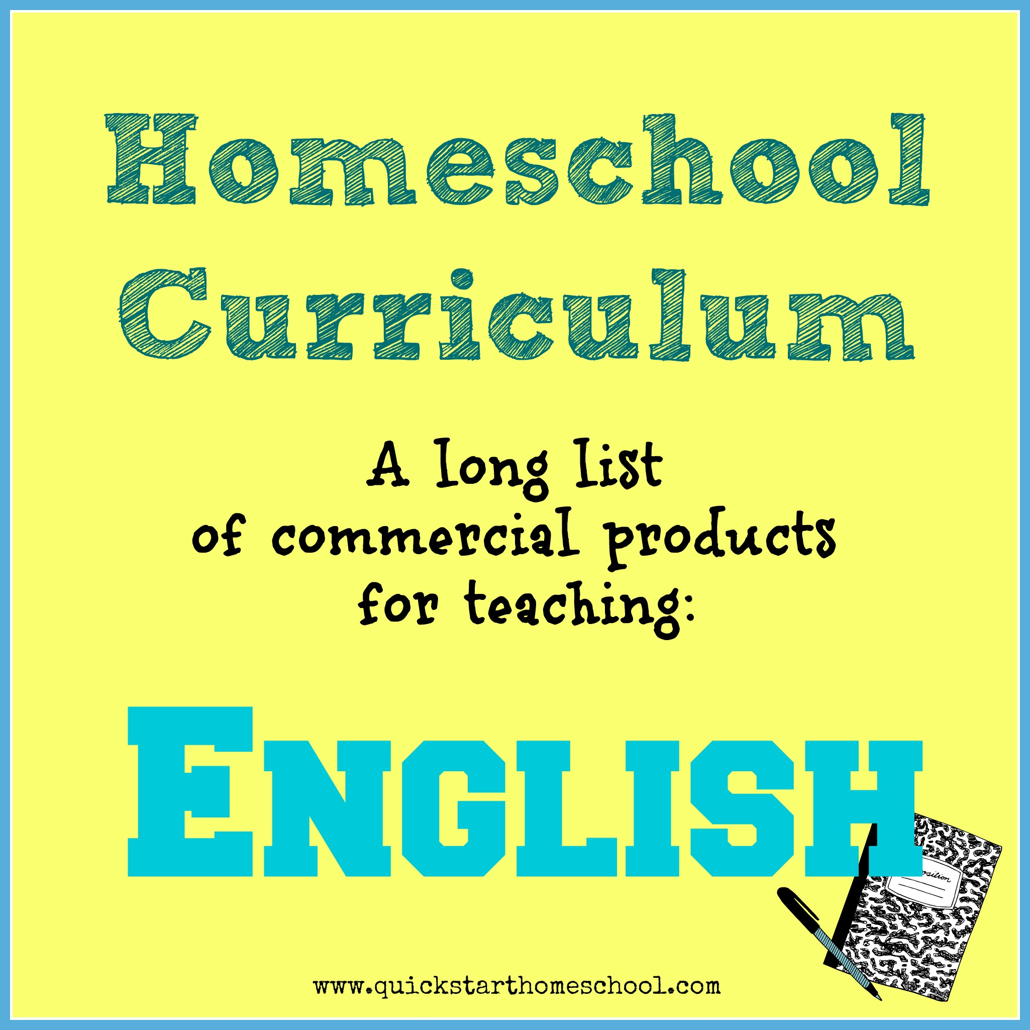 BIG List of English products {Quick Start Homeschool}