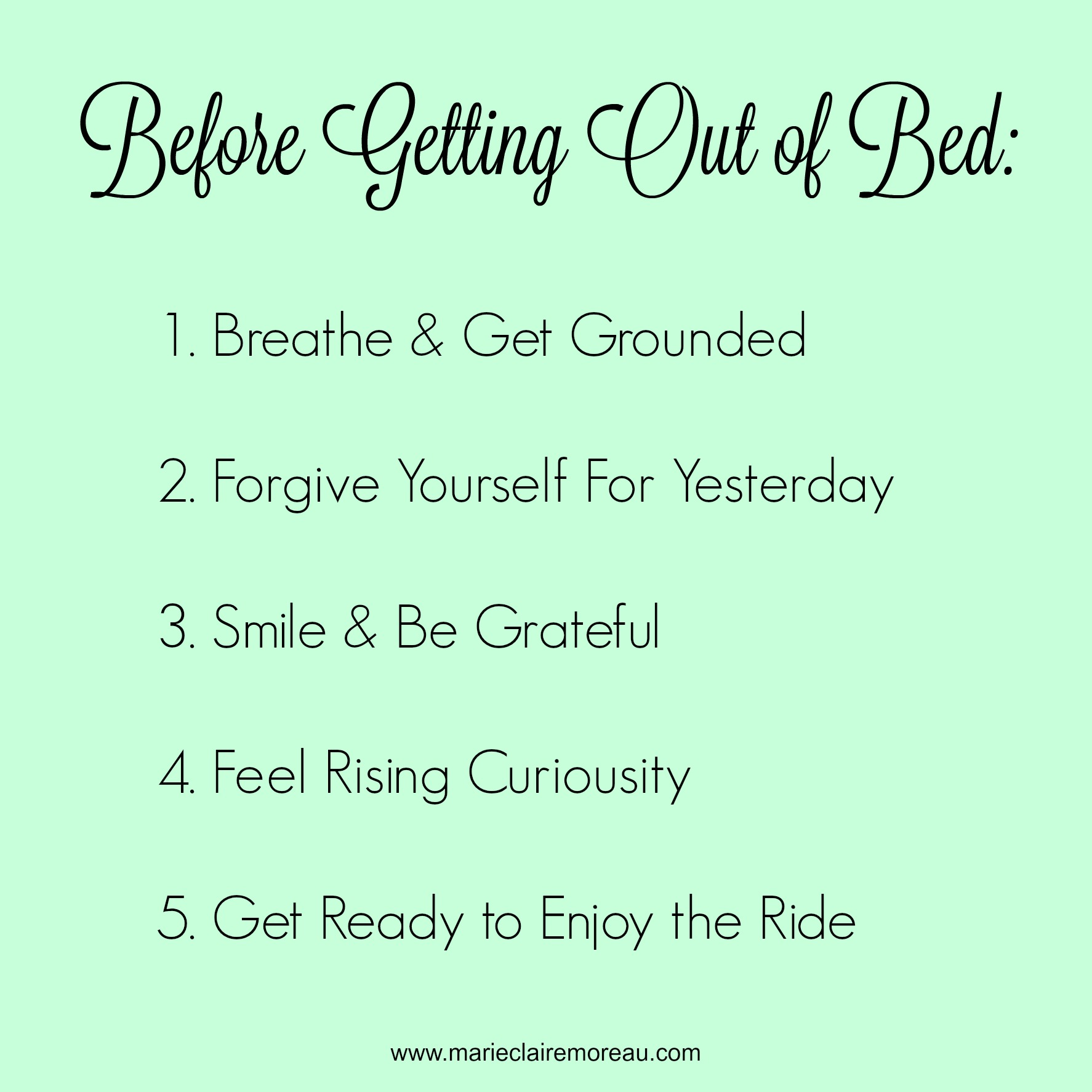 daily practice: five things to do before getting out of bed